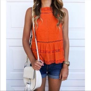 NEW Free People Top Crochet Hem Size Large